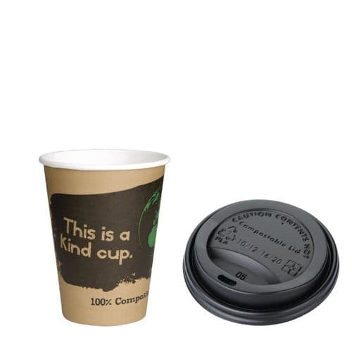 Fiesta Green 12oz Compostable Hot Cups and Lids Bundle (Pack of 1000)